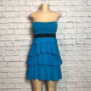 Express Blue Strapless Tiered Sundress Sz Sm